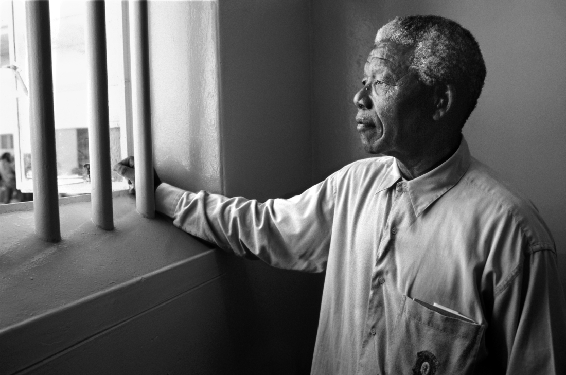 Nelson Mandela Gazing Out Barred Window