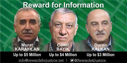 Usa-Turchia/ Ricompensa Usa: fino a 5 mln dollari per notizie su leader Pkk