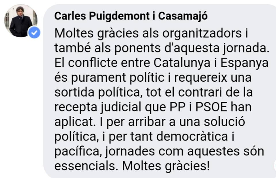 messaggio Puigdemont
